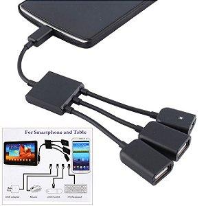 Cabo OTG Hub Micro USB 3 em 1 Preto