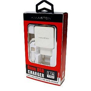 Carregador Cabo Fixo Tipo C 2 USB HM16-2