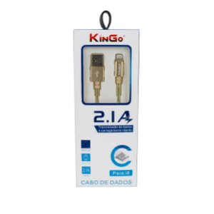 Cabo dados Kingo metalizado iphone ipad lightning dourado