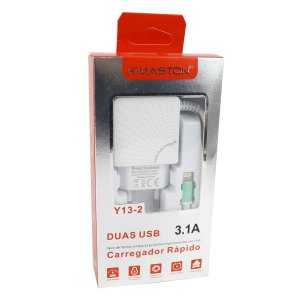 Carregador Cabo Fixo Lightning 2 USB Y13-2 Branco