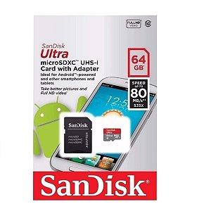 Cartão de memoria micro sd Sandisk ultra 64gb