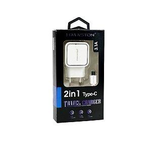 Carregador Tipo C 2 USB HM05 Branco
