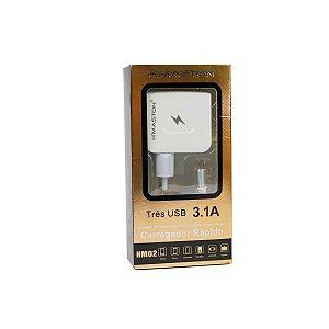 Carregador  Cabo Fixo v8 3 USB HM02 Branco