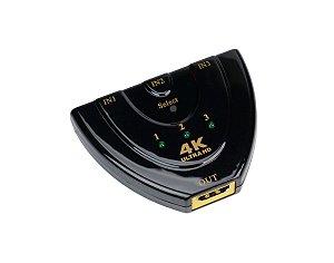 Switch HUB HDMI 4K 3 Entradas 1 Saida