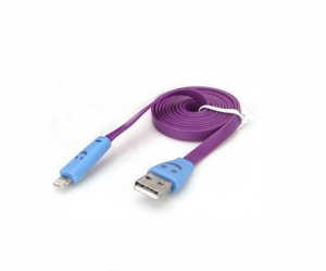 Cabo usb Lightning iphone achatado rosa