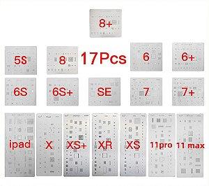 Kit De Stencil Reballing Bga iphone 5s ao 11pro max 17 peças