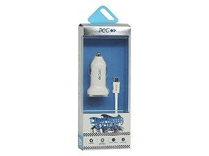Carregador Veicular com cabo usb v8 PEG PC533B 2.4A Branco