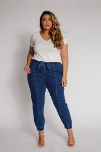 Calça Jogger Jeans C/ Moletinho