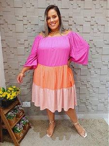Vestido Amplo Mini Tricolor