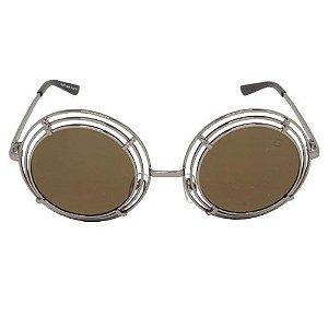 Óculos de Sol Redondo Marrom 2557