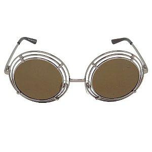 Óculos de Sol Redondo Marrom Geror