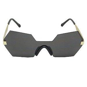 Óculos de Sol Hexagonal Dourado