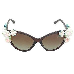 Óculos De Sol Gatinho Florido Marrom