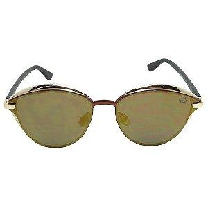 Óculos de Sol Redondo Dourado Pequeno Defeito