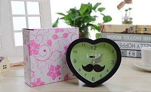 Relógio Despertador Decorativo de Mesa Coração