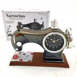 Enfeite Mini Maquina de Costura Relógio Despertador