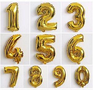 Balão Metalizado Números Dourado