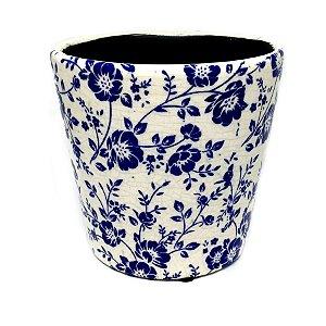 Cachepot floral azul e branco 02