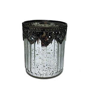 Castiçal em vidro espelhado