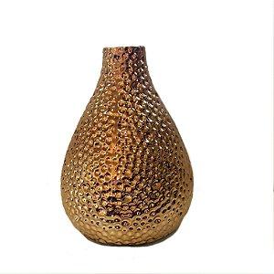 Vaso em cerâmica dourado