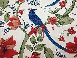 Jogo americano em tecido estampado flores e pássaros