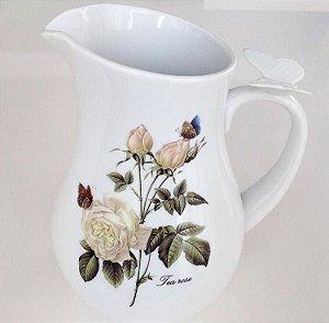 Jarra em porcelana com borboleta na alça estampa Rose