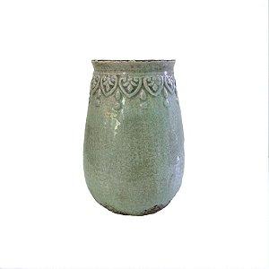 Vaso em cerâmica verde com desenho na borda