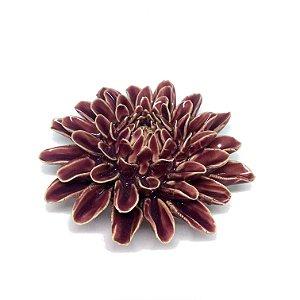 Flor decorativa em cerâmica beringela