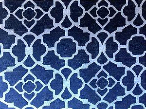 Jogo americano em tecido com estampa geométrica azul