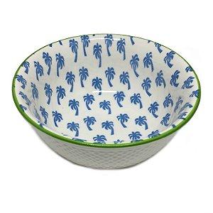 Bowl em cerâmica estampa coqueiros