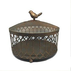 Caixa decorativa em ferro com pássaro