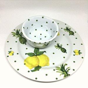 Prato e bowl limão siciliano e abacaxi