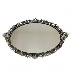 Bandeja oval em metal com espelho