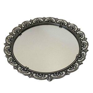 Bandeja redonda em metal espelhada