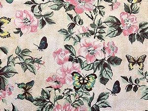 Jogo americano em tecido estampado com flores e borboletas