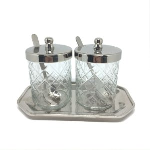 Porta geléias em vidro e metal