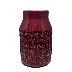 Vaso em cerâmica bordô