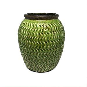 Vaso em cerâmica verde