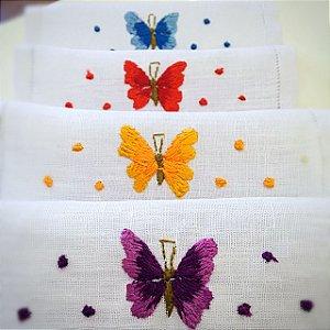 Guardanapo em linho com borboleta para coquetel