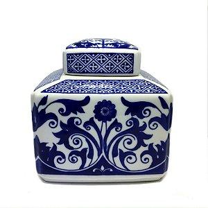Caixa em cerâmica decorativa azul e branca