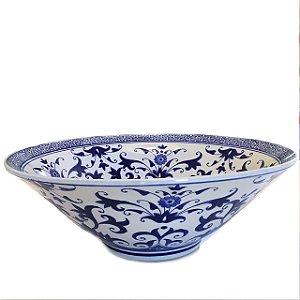 Centro de mesa em cerâmica azul e branco