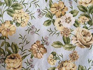 Jogo americano em tecido azul com flores