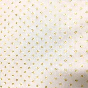 Guardanapo em tecido branco com poá dourado