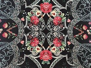 Jogo americano em tecido preto com estampa floral