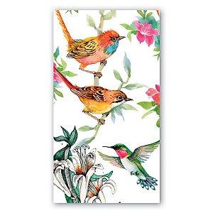 Guardanapo em tecido estampa flores e pássaros
