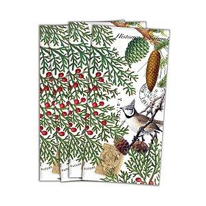 Kit com 4 guardanapos em tecido Natal com pássaros