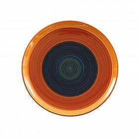 Prato de sobremesa em cerâmica azul e laranja
