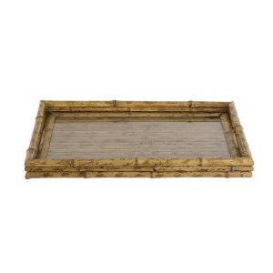 Bandeja em bambu com vidro M
