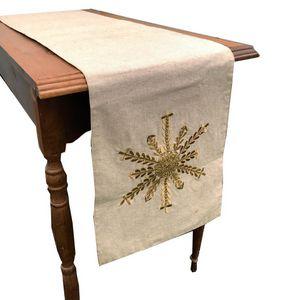 Caminho de mesa em algodão cru com estrela dourada