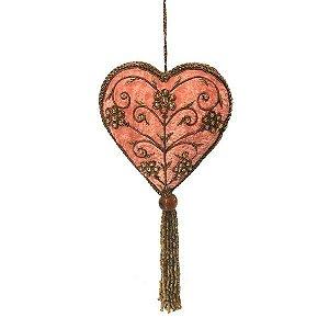 Coração em veludo rosa com pedrarias douradas